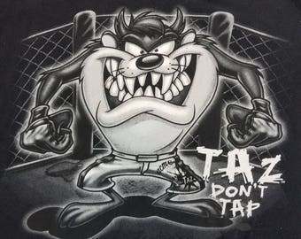 Vintage Taz Looney Tunes Tazmnia Devil MMA Grunge T Shirt Size Large tapout