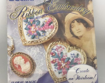 Bucilla Ribbon Embroidery Kit Floral Magic Set of 2 Heart Pins