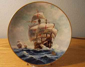 Columbus Discovers America-500th Anniversary Under Full Sail Collector's Plate