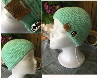 Beanie, Mint Green Beanie, Beanie with pocket, Beanie with lighter, 420, Snowboarding, Camping, Unique Beanie, Crocheted, LITLIDS