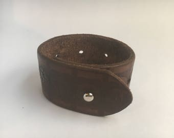 Floral Imprint Leather Cuff Bracelet