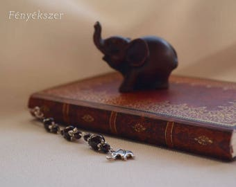 Garnet Elephant Book Jewelry Bookmark Charm Pendant Gemstone Semiprecious Gift for Readers and Animal Fans Silver Christmas Gift for Her