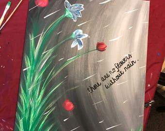 16x20 flower rain canvas painting