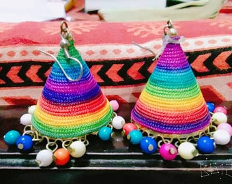 Colorful  thread earring