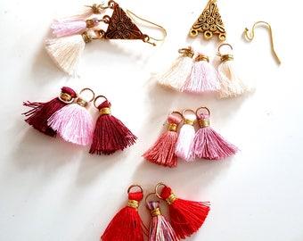 diy Kit earrings to achieve minute jewel tone tassel choice cotton gift creation