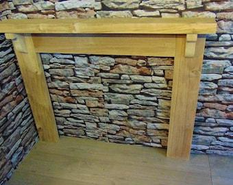 Wooden Oak Fire Surround Solid - Wide Mantel