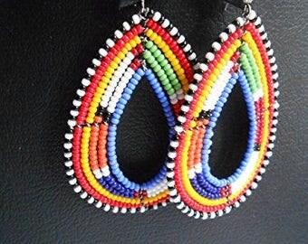 Tribal maasai/masai earrings, Hoop earrings, African earrings, Beaded earrings