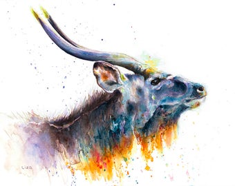 Burning Savanna Antelope Nyala Original Watercolor Painting High Quality Giclée Print canvas home decor office nursery animal art gift PRINT
