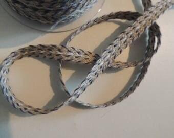 Fancy beige linen and blue stripe