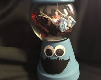 Cookie Monster hand painted cookie/candy jar man-cave jar, money jar create your own customize for little boys or girls.