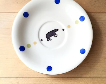 ceramic wall decor, bear lover gift, print on ceramic, ceramic plate, vintage illustrated plate, Decorated Plate, Bear Dinner Plate, gift