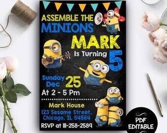 Minion Invitation, Minion Birthday Invitation, Minion Birthday, Minion Instant Download, Minion PDF Editable, Minion Editable Invitation