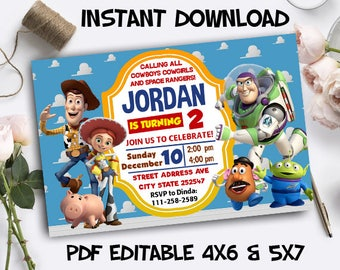 Toy Story Invitation Instant Download, Toy Story Invitation Digital, Toy Story Digital Download, Toy Story PDF Editable, Toy Story Template