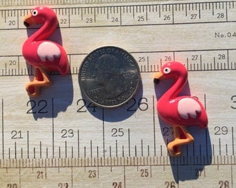 Pink Flamingo flat back resins Cabochons Lot of 2 pieces Bow Making Crafting Embellishment