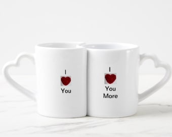 I Love You, I love You More Red Heart Coffee Mug Drinking Cup Gift