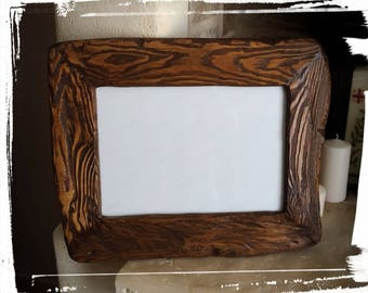 Antique wood photo frame-Unique handmade antique wood frame wall