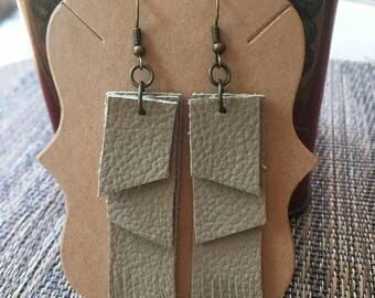 Beige 3 Layer Leather Fringe Earrings/ Leather Earrings/ Leather Jewelry/ Dangle Drop Earrings