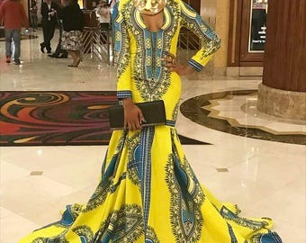 African Ladies Prom Dress Dashiki dress,, African Clothing, African Wax Print. Gown, Dashiki, African ladies wear,African wear,Africanskirt