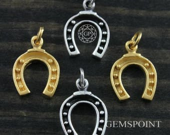 Sterling Silver or Vermeil Charm, Horse Shoe Charm, Horse Shoe Charm/w Jump Ring, Silver Horse Shoe Charm, Gold Horse Shoe Charm, (5-19)