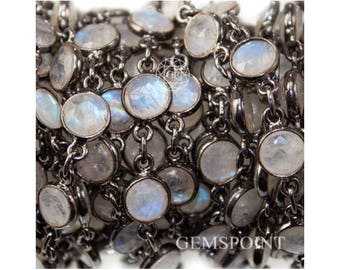 Rainbow Moonstone Connector Chains, Black Plated  Connector Chains, Moonstone Bezel Connector Chains, 5 mm, Sold By Foot (MON-448783)