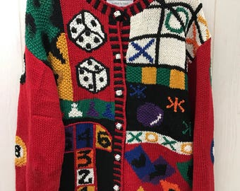 Vintage 80s 90s Decorated Game Themed Sweater Cardigan Dice Pool Balls Jacks Signatures by Northern Isles Medium