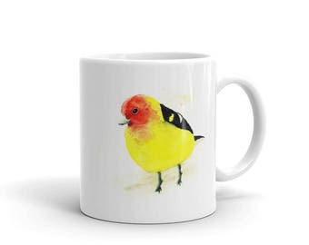 Western tanager bird original unique watercolor painting white glossy mug