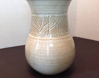 Hand thrown pottery vase, made in Canada, neutral tones