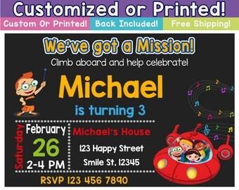 Little Einsteins Invitation, Little Einsteins Customized invitation, Little Einsteins Printed Invitation, Little Einsteins, FAST Delivery!