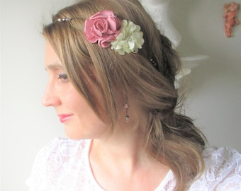 Headband boho wedding, romantic flowers ivory and dusty rose, lilac-ceremony, bride, Maid of honor.