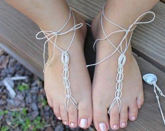 Seashell barefoot sandals, beach barefoot sandals, hemp anklets, beach wedding sandals, hemp barefoot sandals