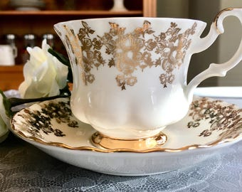 Vintage Royal Albert 50th Anniversary Teacup and Saucer England. White and Gold Teacup and Saucer Set. Collectible Teacup and Saucer