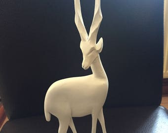 Elegant hand painted white antelope - carved wood