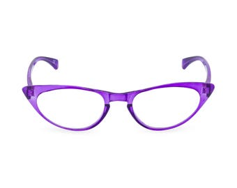 1950s 60s style Amethyst CAT EYE Rxable frame or reading glasses clear to +3.00 NEW to original vintage design best seller 'Peggy''