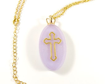 Kawaii Fairy Kei Pastel Goth Sweet Lolita Purple and Gold Cross Necklace