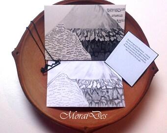 Charcoal Map Mountain-envelope Chimborazo Mountain-volcano map-Ecuador envelope-history lovers-book Lovers Gift
