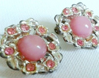 Vintage pink earrings, pink glass earrings, pink floral earrings, pink cabochon and rhinestone earrings, retro style earrings