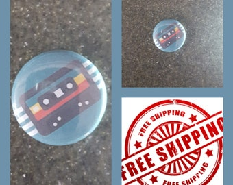 "1"" Cassette Tape Button Pin or Magnet, FREE SHIPPING & Coupon Codes"
