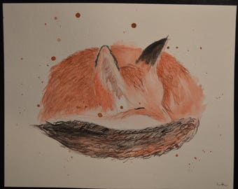 Baby Fox Watercolor Painting