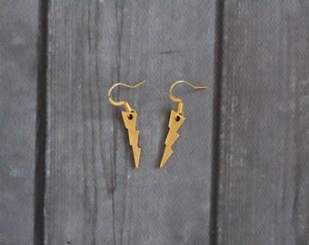 Lightning Bolt Earrings Gold