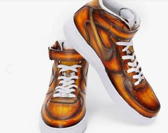 "Nike Air Force One "" Cognac Cream"" Patina"