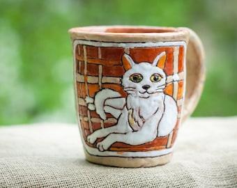 White Cat Little cat Kitten Mom Mug Tea Mug Citten mug Black kitten Cute kitten Lady Cat Ceramic Cat Ceramic kitten Cat mug