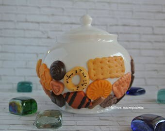 Sugar bowl Candy Polymer Clay Сookies Сhocolate Decor