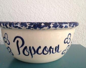 Adorable blue splatter popcorn bowl