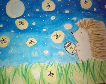 Hedgehog and Fireflies 5X7 Original glow in the dark watercolor painting