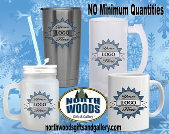 Business Logo Drinkware, Frosted Beer Mug, Frosted Mason Jar, Coffee Mug.  Client Gift, Business Gift, Yeti Tumbler Gift, Logo Gift