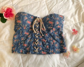 Free Shipping Floral Bustier Crop Top