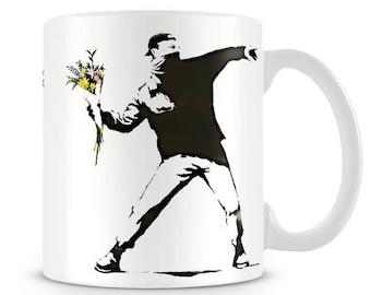 Banksy Inspired 'Dont say I never buy you flowers' Mug