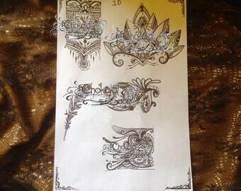 Henna/Jagua (1D) Stencils Tattoo Carbon Thermal Paper prints(purple)