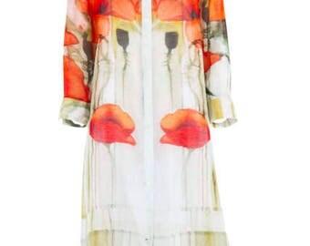 Silk Linen Burnt Poppy Over Shirt
