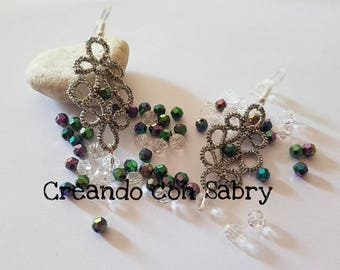 Elegant earrings/tatting earrings/Silver earrings/Tatting/Bijoux/jewelry/handmade/hand made/gift Idea